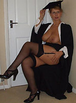 busty british housewife sandy graduation robes fantasy